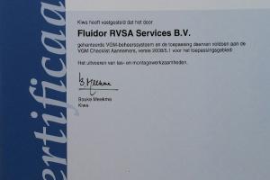 VCA Certificaat uitgereikt door KIWA aan Fluidor RVSA Services BV